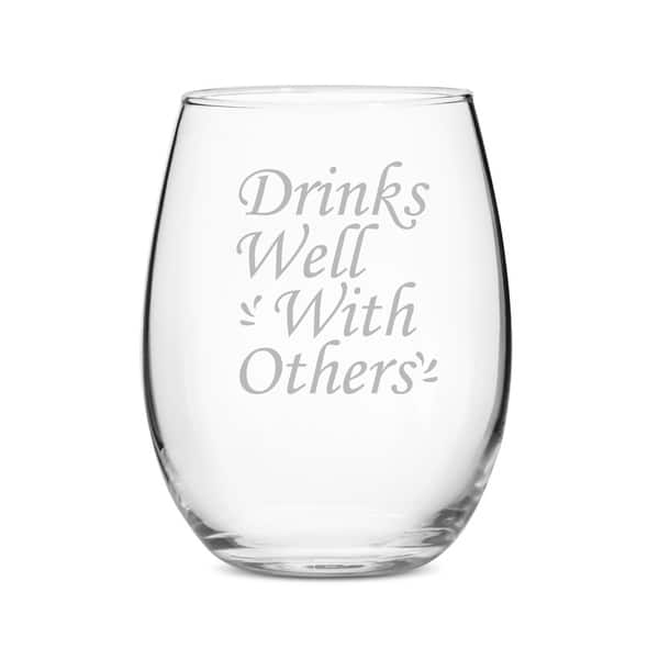 Gift Ideas Drinks Well With Others 21 Oz Stemless Wine Glass Set Of 4 On Sale Overstock 28179933