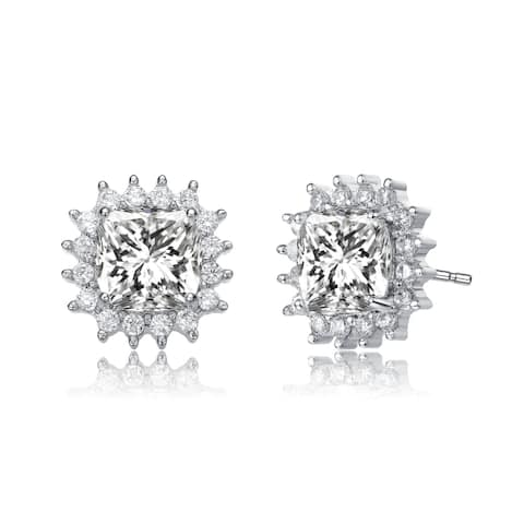 Collette Z Sterlling Silver Clear Round and Radiant Cubic Zirconia Square Stud Earrings