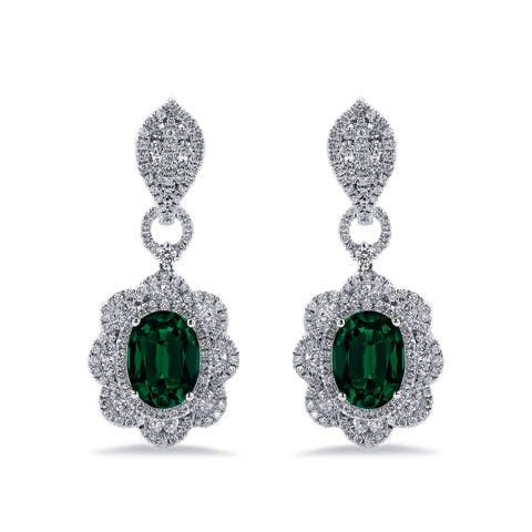 Auriya 4 9/10ct Oval-cut Emerald Gemstone and 2 3/4ctw Halo Diamond Dangling Earrings 18K Gold