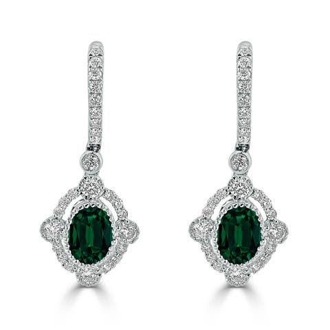 Auriya 1 3/8ct Oval-cut Emerald Gemstone and 7/8ctw Halo Diamond Dangling Earrings 18K Gold