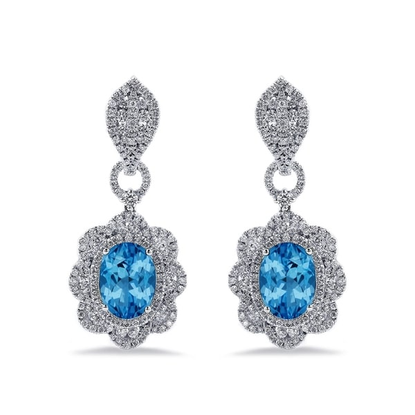 Auriya 6 3/8ct Fancy Oval-cut Topaz Halo Diamond Drop Earrings 2 3/4ctw 18k Gold