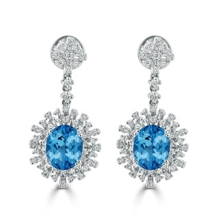 Auriya 6 3/8ct Fancy Oval-cut Topaz Halo Diamond Drop Earrings 1 1/3ctw 18k Gold