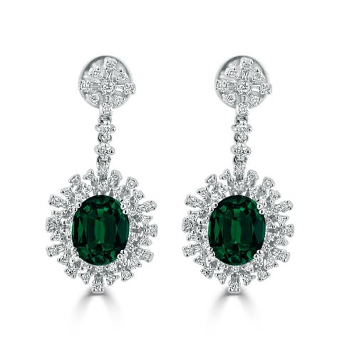 Auriya Fancy 4 9/10ct Oval-cut Emerald Gemstone and 1 1/3ctw Halo Diamond Dangle Earrings 18K Gold