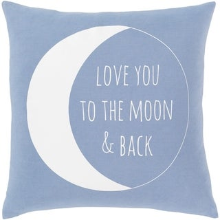 Moon Novelty Denim and White Cotton 18-inch Poly or Feather Down Filled Throw Pillow
