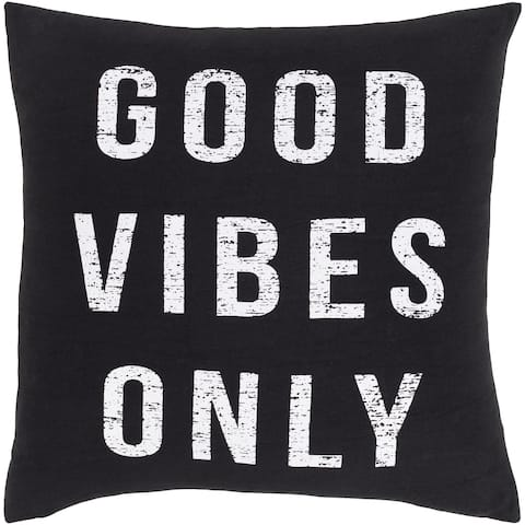 Vibes Novelty 18-inch Poly or Feather Down Filled Throw Pillow