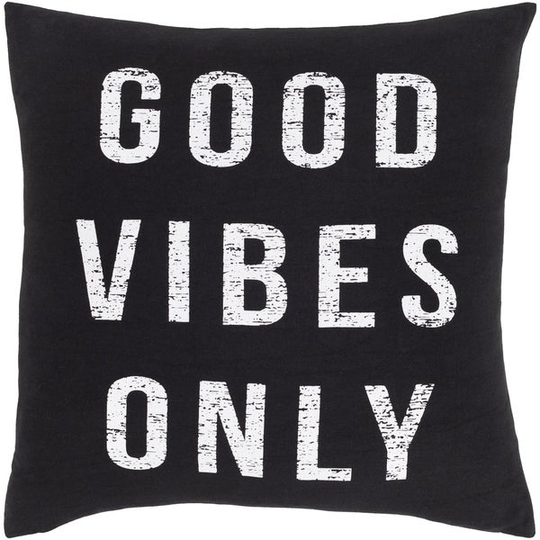 Vibes Novelty Black and White Cotton 18-inch Poly or Feather Down Filled Throw Pillow
