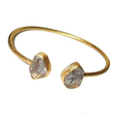 Handmade Gold-overlay Herkimer Diamond Bracelet (India)