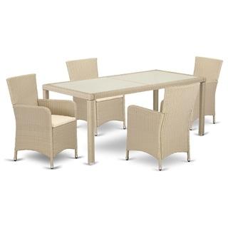 LULU5-53V 5 pc Outdoor Wicker Patio Furniture Set in Cream Finish