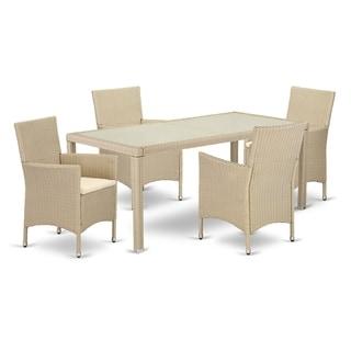 LUVL5-53V 5 pc Outdoor Wicker Patio Furniture Set in Cream Finish