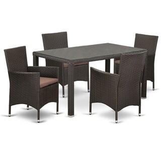 MAVL5-63S 5 pc Outdoor Wicker Patio Furniture Set in Dark Brown Finish