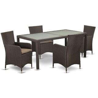 LULU5-63S 5 pc Outdoor Wicker Patio Furniture Set in Dark Brown Finish