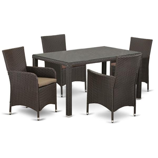 MALU5-63S 5 pc Outdoor Wicker Patio Furniture Set in Dark Brown Finish