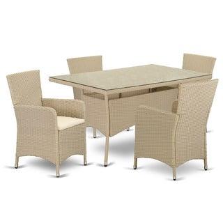 VLLU5-53V 5 pc Outdoor Wicker Patio Furniture Set in Cream Finish