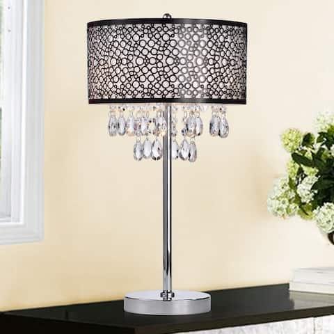 Kosmas Chrome 3-light Table Lamp with Crystals