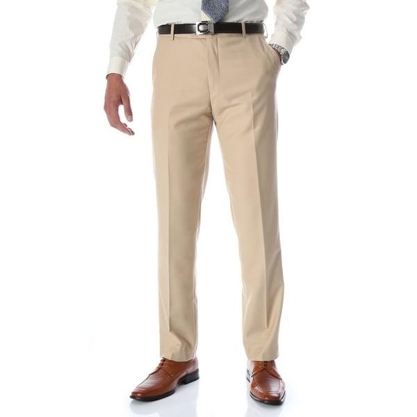 Ferrecci Mens Halo Tan Slim Fit Flat-Front Dress Pants