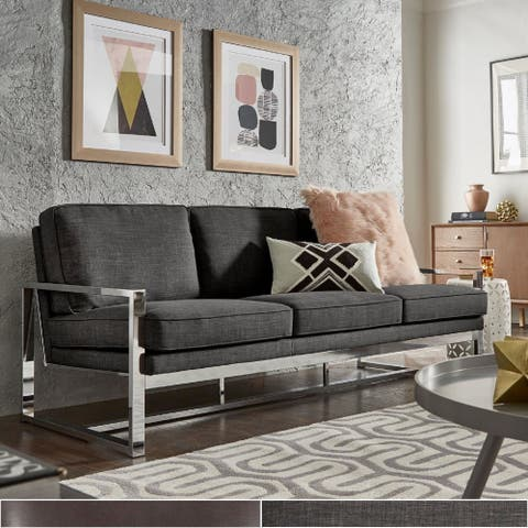 Silver Orchid Blane Chrome Dark Grey Linen Sofa