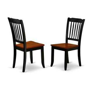 DAC-BCH-W Danbury Vertical Slatted Back Chairs in Black and Cherry Finish (Set of 2)