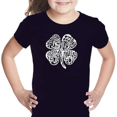 Girl's Word Art T-shirt - Feeling Lucky - LA Pop Art