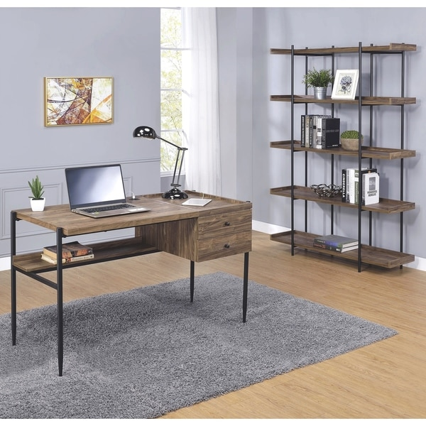 Home Office Collection Walnut Finish Black Wood Metal Contemporary Rustic Writing Desk