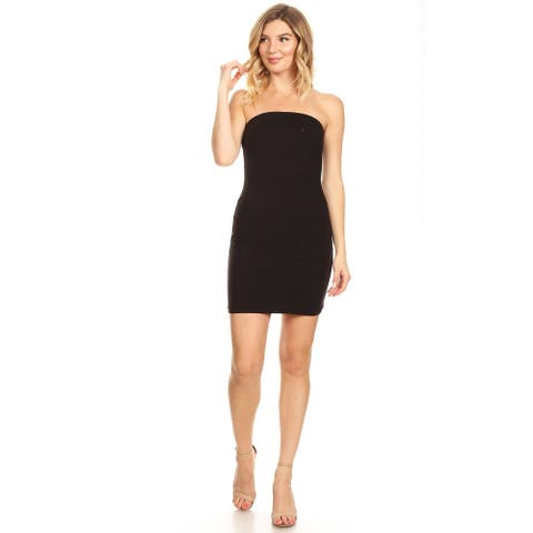 Women's Solid Color Casual Slim Fit Bodycon Fully Lined Strapless Midi Tube Style Dress