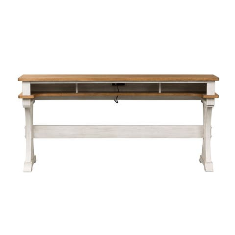 Farmhouse Reimagined Antique White and Chestnut Console Bar Table