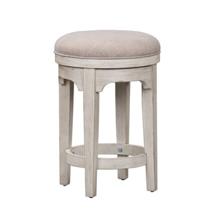 Farmhouse Reimagined Antique White Console 24-inch Swivel Stool - N/A