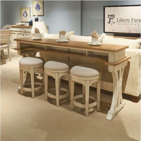 Farmhouse Reimagined Antique White and Chestnut 4-piece Bar Table Set