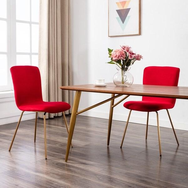 Art Leon Modern Velvet Fabric Dining Chairs Set Of 2 With Golden Legs