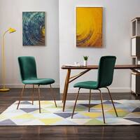 Art-Leon Modern Velvet Fabric Dining Chairs Set of 2 with Golden Legs