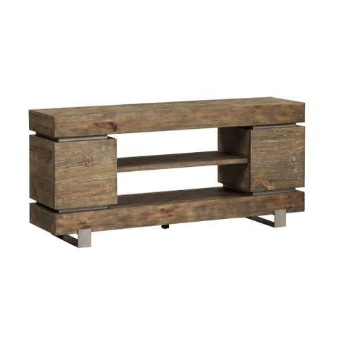 West End Grey Wash Pine and Powder Coated Satin 60-inch TV Console