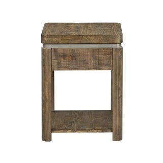 West End Grey Wash Pine and Powder Coated Satin Chair Side Table