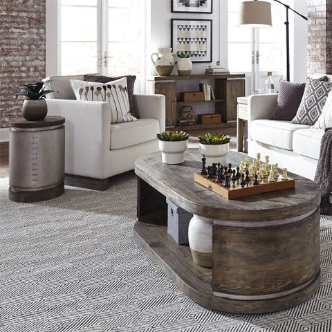 West End Grey Wash Pine 3-piece Cocktail Table and End Table Set