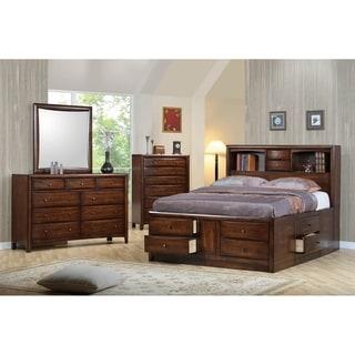 Dakota Warm Brown 5-piece Storage Bedroom Set with 2 Nightstands