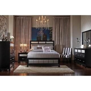 Sinatra Grey and Black 4-piece Panel Bedroom Set with 2 Nightstands