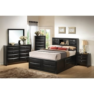 Jazz Black 4-piece Storage Bedroom Set with 2 Nightstands