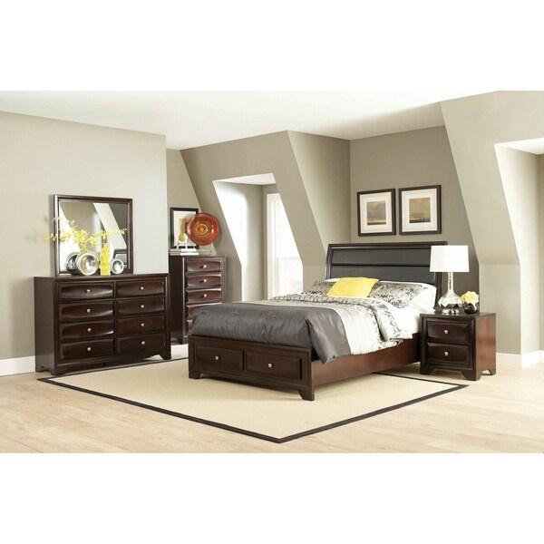 Israel Cappuccino 4-piece Storage Bedroom Set with 2 Nightstands