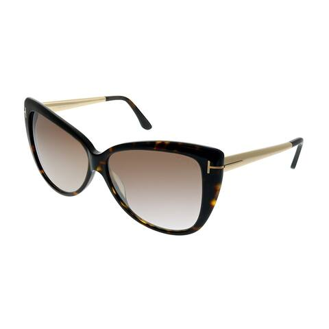 Tom Ford Reveka Womens Dark Havana Gold Frame Brown Mirror Lens 59mm Sunglasses