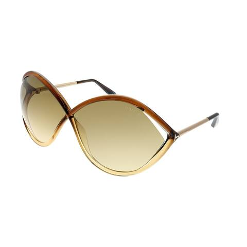 9462b24c83 Tom Ford Liora FT 0528 50F 70mm Womens Transparent Brown Frame Brown  Gradient Lens Sunglasses