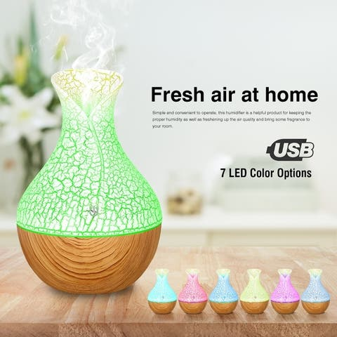 Mini Humidifier LED Ultrasonic Humidifier Vase USB Multicolor Changing Color 7 Color LED Lights Touch Control with Wood Grain