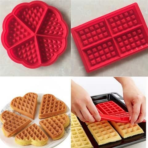 Silicone Waffle Mold Maker Baking Molds Red Cookie Cake Muffin Bakeware Cooking Tools Kitchen Accessories Supplies