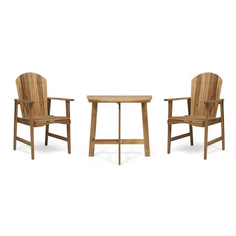 Oso Outdoor 2 Seater Half-Round Acacia Wood Bistro Table Set with Adirondack Chairs by Christopher Knight Home
