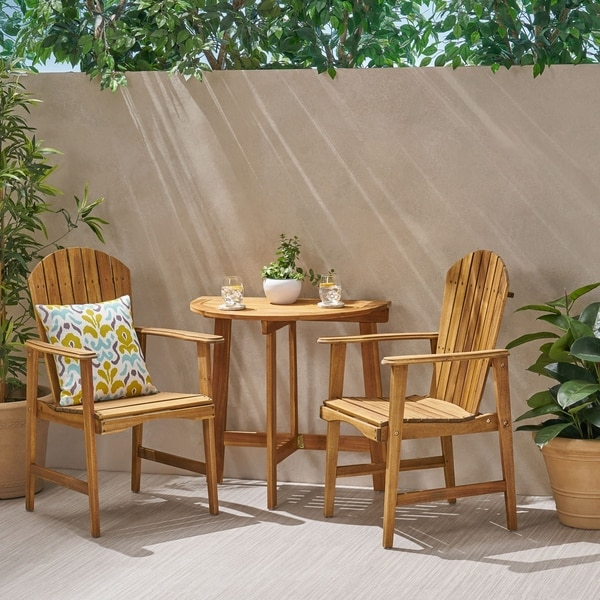 Oso Outdoor 2 Seater Half-Round Acacia Wood Bistro Table Set with Adirondack Chairs by Christopher Knight Home. Opens flyout.