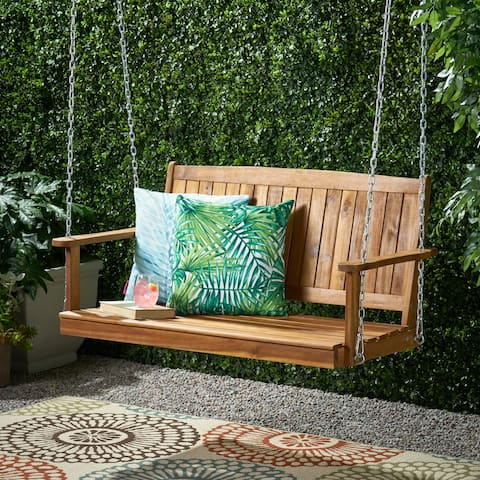 Tambora Outdoor Aacia Wood Porch Swing by Christopher Knight Home