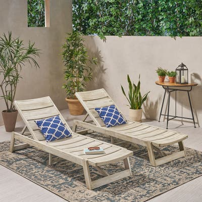 Maki Outdoor Wood Chaise Lounges (Set of 2) by Christopher Knight Home