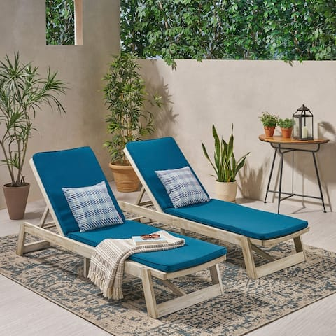 Maki Outdoor Acacia Wood Chaise Lounge and Cushion Sets (Set of 2) by Christopher Knight Home