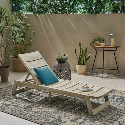 Maki Outdoor Wood Chaise Lounge by Christopher Knight Home