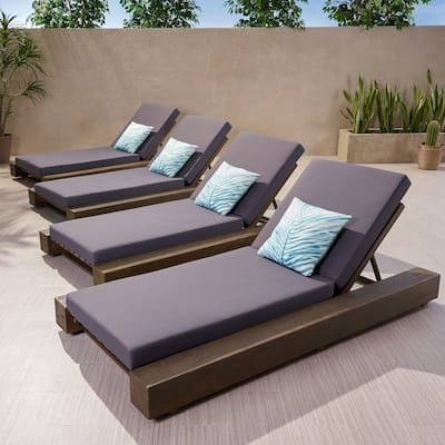 Broadway Outdoor Acacia Wood Chaise Lounge and Cushion Sets (Set of 4) by Christopher Knight Home