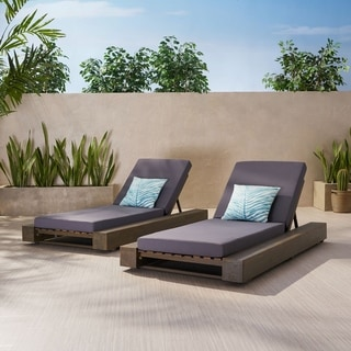 Broadway Outdoor Acacia Wood Chaise Lounge and Cushion Sets (Set of 2) by Christopher Knight Home