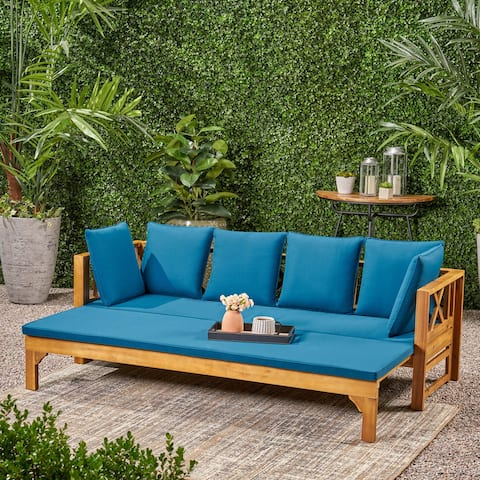Long Beach Acacia Wood Outdoor Extendable Daybed Sofa by Christopher Knight Home