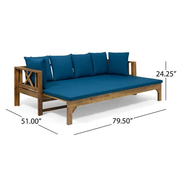 Excellent Shop Long Beach Outdoor Extendable Acacia Wood Daybed Sofa Ncnpc Chair Design For Home Ncnpcorg